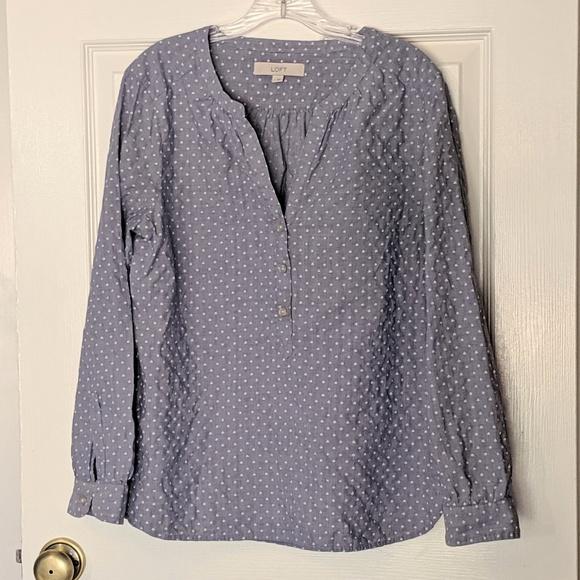 LOFT Tops - LOFT Light Blue Print Blouse Large